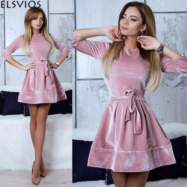 3cd76922c314 ELSVIOS Women Retro Velvet Dress 2018 Korean Style Autumn Winter Party  Dresses Casual Three Quarter Elegant Mini Dress With Belt