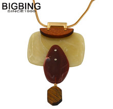 BIGBING fashion jewelry Famous brand golden chain wood Natural stone pendant long Necklace Fashion jewelry S007
