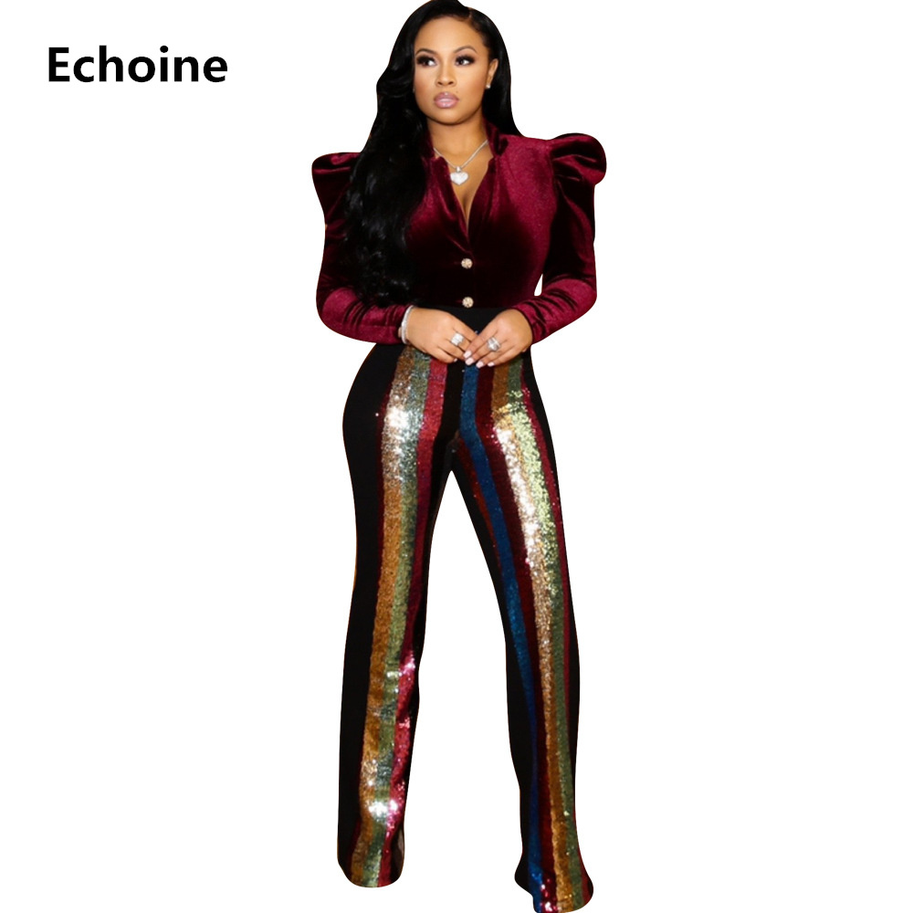 Woman Sequin Striped Pants Patchwork Flare Long Trousers For Female Sexy Club Pants High Waist Slim Bodycon Trousers Streetwear