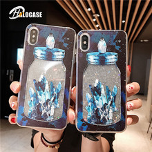 Beautiful Glitter Wishing bottle  Dynamic Liquid Quicksand Case For iphone 6 6s 7 8 plus Soft silicone case for X XS MAX XR capa