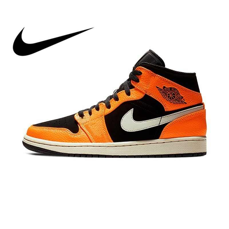 uk availability abed0 8c3d8 Original 2018 NIKE AJ1 Men's Basketball Shoes Sneakers Air Jordan High Cut  Breathable Comfortable Lace-up Sports Shoes 554724