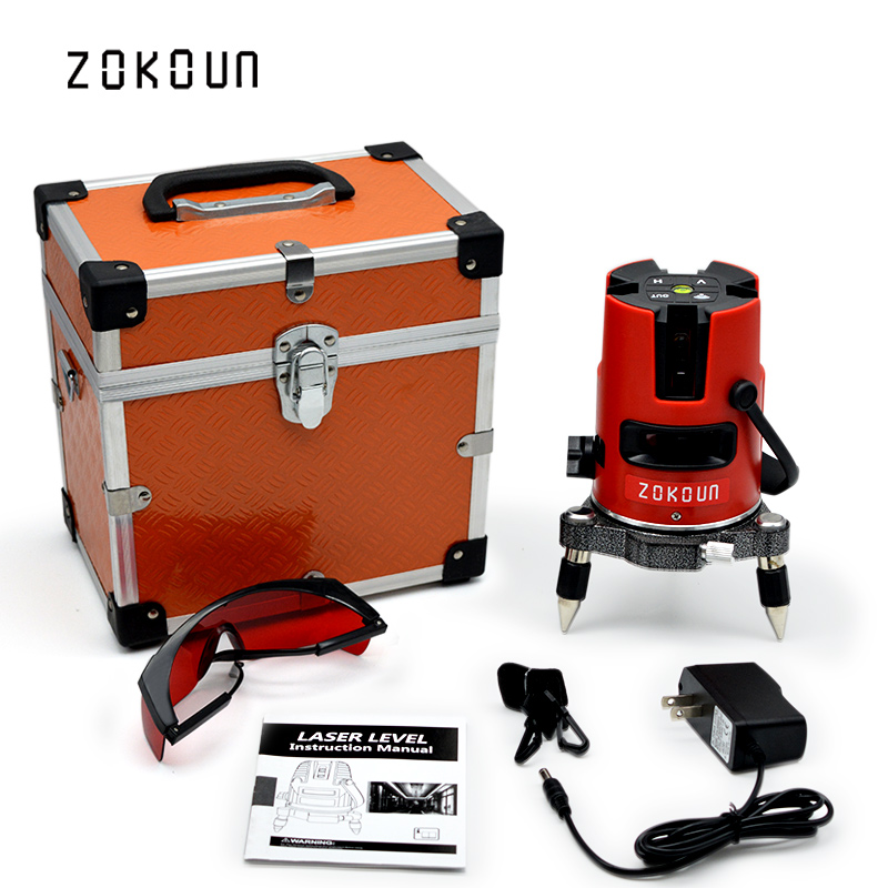 US PLUG Zokoun 5 lines 6 points 360 degrees rotary self leveling tilt slash functional laser level meter with outdoor mode quality mtian level laser 5 lines 6 points instrument levels 360 self rotary 635nm corss line lazer level tools fast delivery