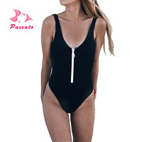 Pacento One Piece Suits Sexy Swimsuit Thong One Piece 4 Colors 2018swimwear Women One Piece Sport