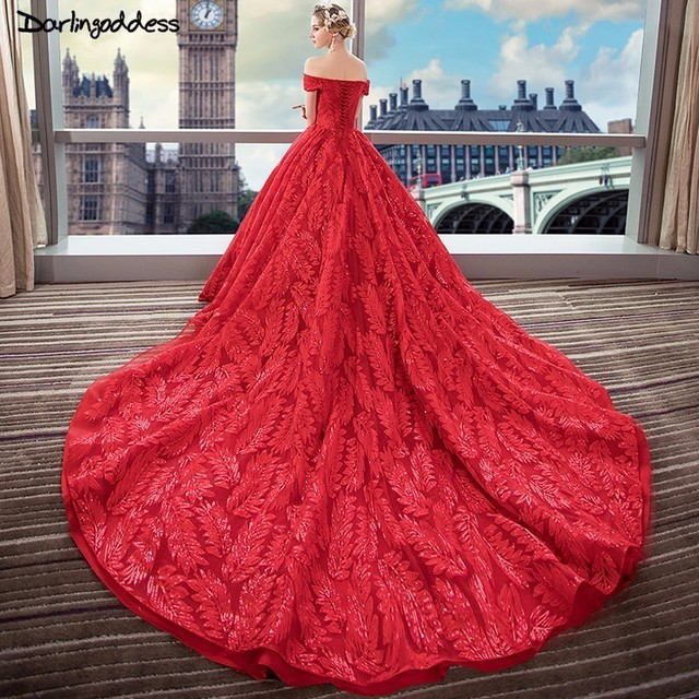 83078c70f22 Luxury Ball Gown Wedding Dresses 2018 Dubai Lace Plus Size Red Wedding  Dress Long Tail Short Sleeve Wedding Gowns Robe De Mariee