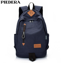 PHEDERA New High Quality Canvas Men Backpack Bag Casual Male Rucksack Gray Blue Black Shoulder Bags 2019