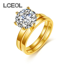 LCEOL  Fashion Design 2 Circles Eternity Love Single CZ Diamonds Ring Set Engagement Wedding Rings for Women Couple Jewelry
