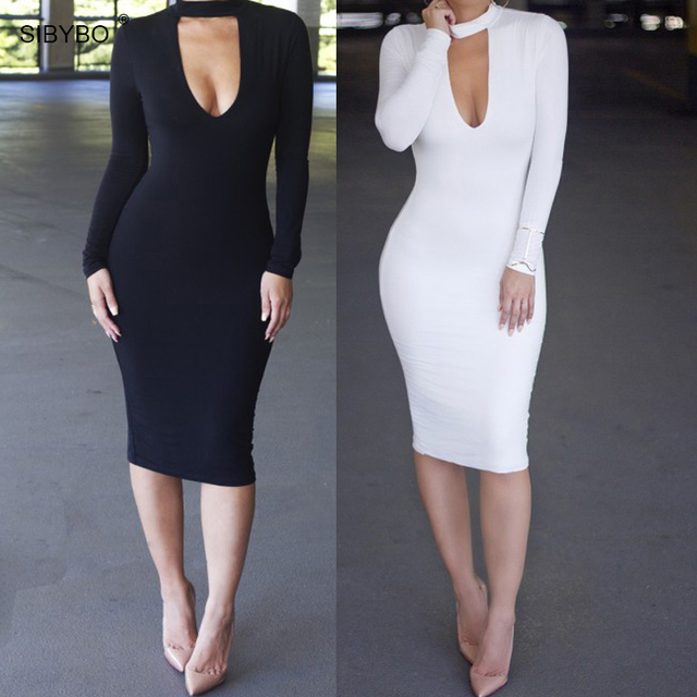 Bodycon Sexy Club Dresses 2016 Black White Long Sleeve Elegant Winter Warm   Midi Bandage Dress Vestidos Women Clothing