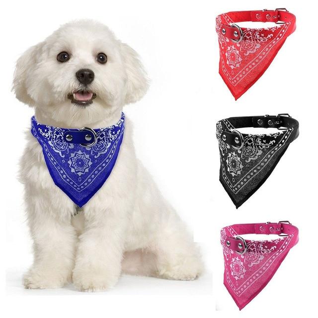 Fashion Adjustable Pet Dog Puppy Cat New Fashion Charming Chic Neck Scarf Bandana Leather Collar Neckerchief