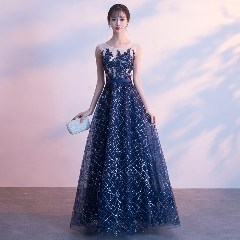 Starry Party Dress Women Dress Elegant Chiffon Round Neckline Sequined Long Dress Appliques Decoration Bandage Dress