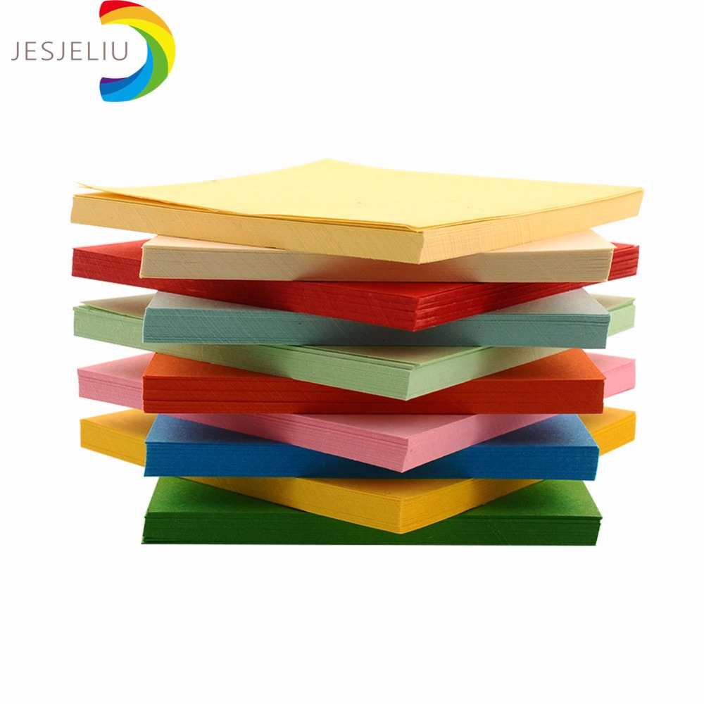 Double sided craft paper - Jesjeliu 100pcs 10x10cm Mix Color Square Double Sided Coloured Folding Paper Craft Diy Kid Gift Handmade
