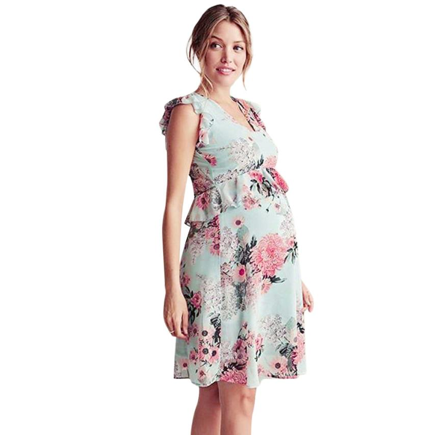 Pregnant Dress Summer Mother Floral Falbala Pregnant Sleeveless Ruffles Dress Maternity Clothes for Pregnant Women 18Jun28