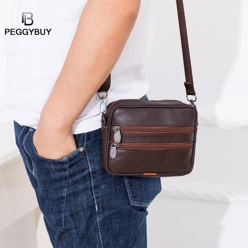 Wallet Card-Holder Crossbody-Bags Phone Shoulder-Waist-Packs Small Vintage Genuine-Leather