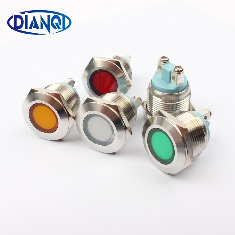 LED Metal Indicator Light 19mm Waterproof Signal Lamp LIGHT 3V 6V 12V 24V 220v Screw Connect Red Yellow Blue White 19ZSD.PY.L