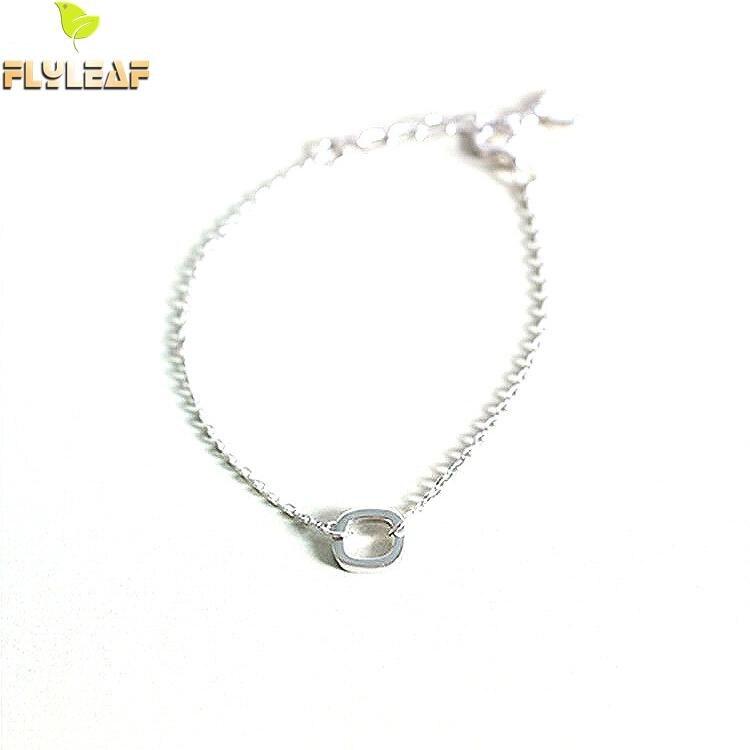 Flyleaf 100% 925 Sterling Silver Praça Geométrica Charme Pulseiras Para Mulheres Simples Moda Festa de Jóias