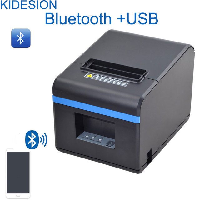 Nuevo llegado 80mm cortador automático recibo impresora de puerto USB o puerto Ethernet o interfaz Bluetooth para leche tienda de té