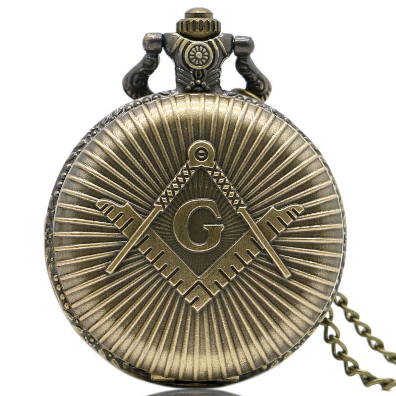 Fashion Quartz Masons Freemasonry Pocket Watch Woman Man Vintage Antique Pendant G Fob Watches Classic Bronze Necklace