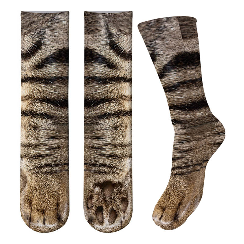 New 3D Print Adult <font><b>Animal</b></font> Paw <font><b>Socks</b></font> <font><b>Unisex</b></font> Crew Cat Long Stocks Elastic Breathable <font><b>Sock</b></font> Dog Horse Zebra Pig Cat Paw image