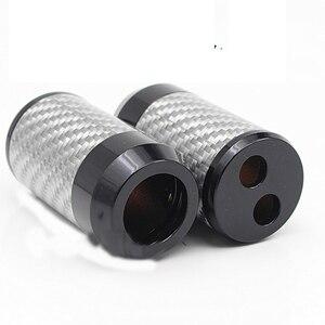 Image 4 - HiFi z włókna węglowego Y Splitter głośnik Audio przewód zasilający Adapter DIY słuchawki stereo złącze rozdzielacz ze stopu aluminium