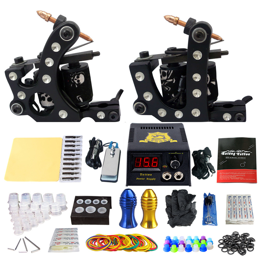 Complete Tattoo Machine Kit Set 2 Coils Guns Sets Grips Body Arts Supplies Needles Tips Tattoo Beginner Kits TK202-20 usa dispatch complete beginner tattoo kit 3 machines guns lcd power needles tips grips set equipment supplies