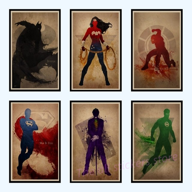 Süper kahramanlar posteri dekoratif boyama mürekkep Catwoman / Wonder kadın/örümcek adam/flaş/Superman vintage duvar çıkartmaları 2002