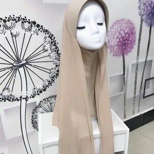Image 5 - イスラム教徒の女性のhijabsファッションシフォンヒジャーブ/スカーフ/キャップフルカバーインナーイスラムヘッド磨耗帽子underscarf便利な