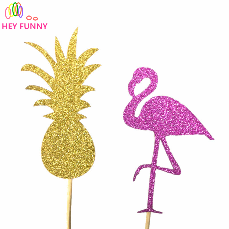 New!20PCS Flamingo Party Cupcake Toppers Birthday Cakes Topper Picks Wedding/Birthday Party Decoration Baby Shower Supplies