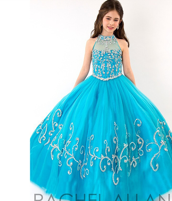 Fashion Blue Girls Pageant Dresses With Beaded Pearl 2016 Summer Ball Gown  Tulle Sleeveless Floor Length 5a2b39be0562