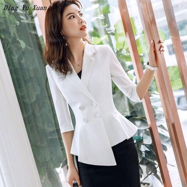 Ladies White Red Burgundy Office Blazer Womens Slim Irregular Asymmetry Vintage Peplum Suit Jacket Plus Size Women Work Coat 4XL