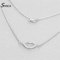 Pure 100 925 Sterling Silver Kiss Me Character Lip Double Chain Necklace AAA Zircon Pendants Necklaces