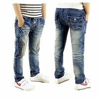 2016 Jesień new kids jeans fashion style z zamkiem błyskawicznym decor dzieci chłopców dżinsy dla 4 do 10 lat B082