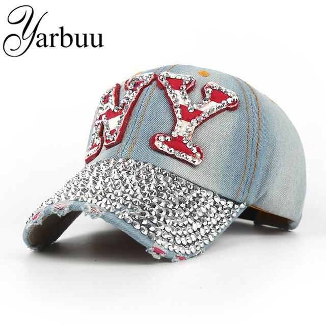 [YARBUU]baseball cap with rhinestone snapback hat for women NY embroidery sun hat unisex new fashion cotton caps free shipping