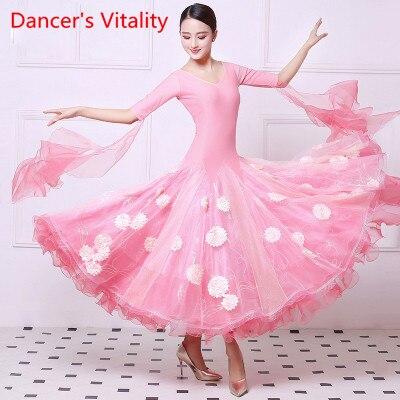 New National Standard Dance Dresses In Autumn And Winter, Friendship Dance Dresses, Leisure Dresses, Waltz Costume Show Dresses