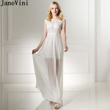 40e707230 JaneVini Sexy blanco con cuentas vestido de fiesta largo 2018 alta baja y  vestidos de damas