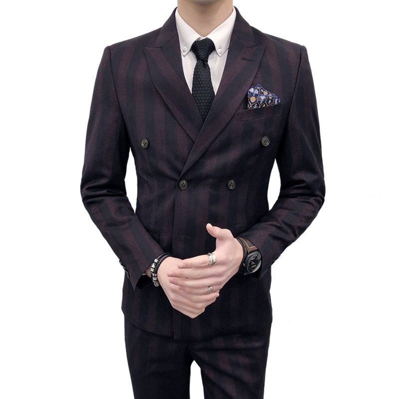 Asian size Latest Brand Men's Fashion Double-breasted Stripe Blazer 3 Piece Business Casual formal men suits Groom Wedding Suit(China)