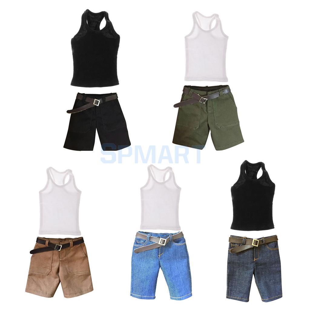 Realistic 1/6 Scale Vest & Denim Shorts Jeans Clothes Set For 12 Male Action Figure Accessories Strengthening Sinews And Bones Toys & Hobbies