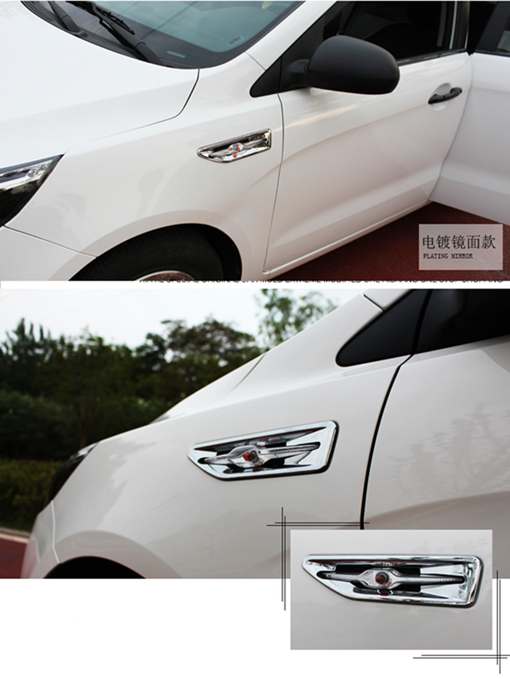 Car styling ABS Chrome Side Light Decoration Trim Cover For KIA RIO K2 2011 2012 2013