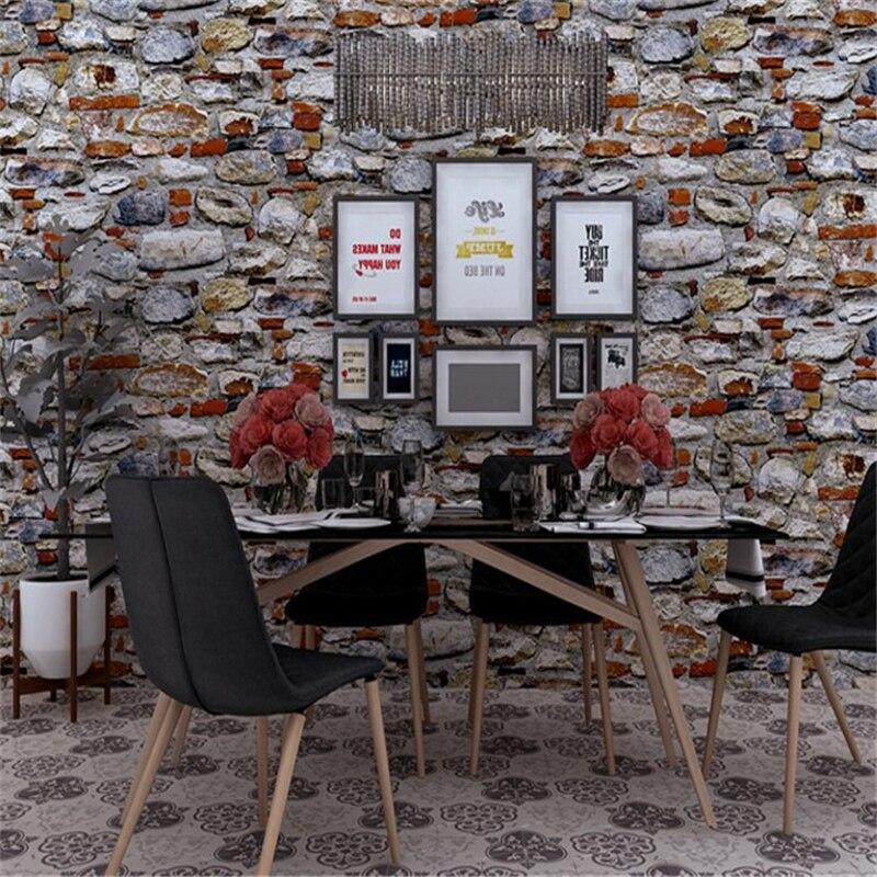 Beibehang 3D stéréo pierre rayé marbre papier peint hôtel Restaurant boulangerie Hot Pot Restaurant étanche papier peint PVC nouveau