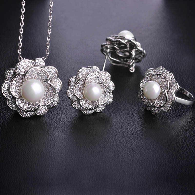 Blucome Cubic Zircon Imitation Pearl Flower Jewelry Sets Gold Color Wedding Women Lady Bijoux Copper Earrings Necklace Ring Set
