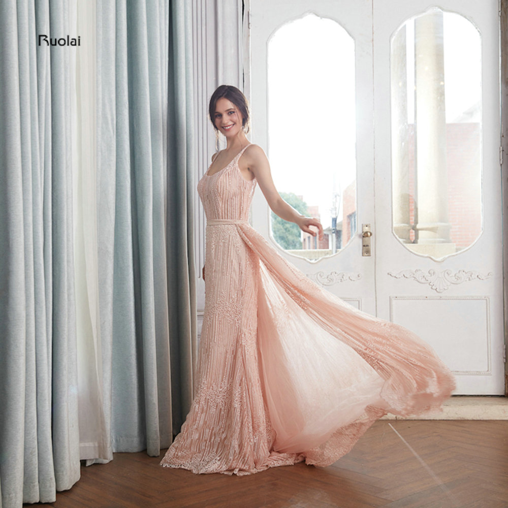 Elegant   Evening     Dresses   2018 Long Lace   Evening   Gown Sleeveless Open Back robe de soiree Party   Dresses   with Removable Train