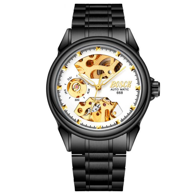 Relojes automáticos de acero completo para hombre, Reloj Mecánico Tourbillon, reloj impermeable para hombre, para negocios, reloj negro Masculino