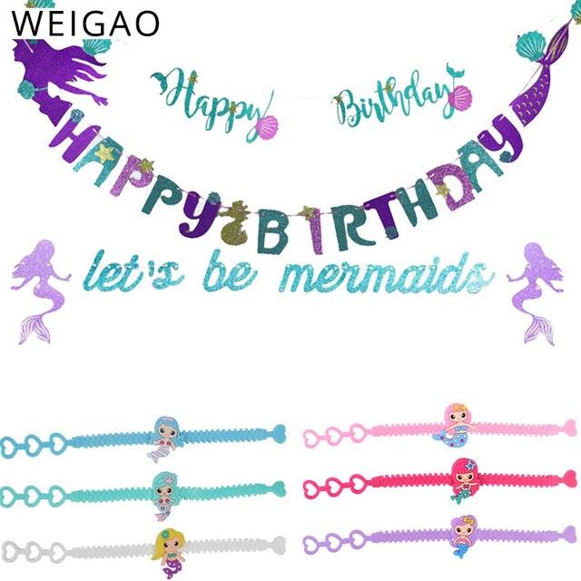 WEIGAO 1 шт., блестящий плакат с русалкой, бумажные гирлянды для фона, флаги, детский праздничный декоративный для Бэйби шауэра, 1-й Декор ко дню рождения