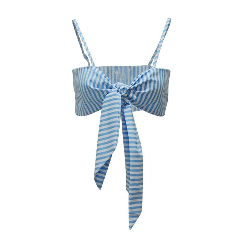 Пикантные Для женщин с принтом синий и белый полосатый Холтер шаблон с коротким Топы корректирующие свободные женские короткие Топы коррек...