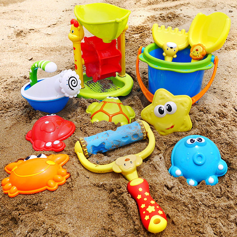11pcs High End Funny Kids Beach Sand Game Toys Set Shovels Rake Hourglass Bucket Children Outdoor Beach Playset Role Play Kit