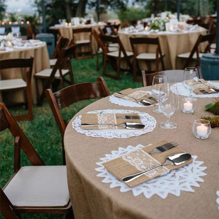 ⊰5pcs Vintage Chic Jute Burlap Lace Wedding Tableware Pouch Cutlery ...
