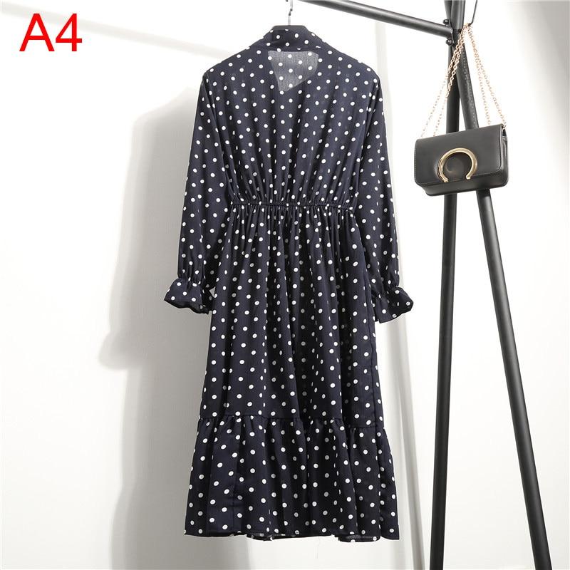 Korean Black Shirt Vestidos Office Polka Dot Vintage Autumn Dresses Women Winter Dress 19 Midi Floral Long Sleeve Dress Female 9