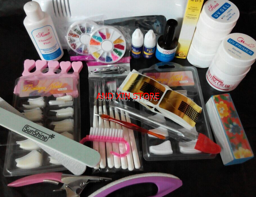 Pro Nail Art Uv Gel Kits Tool Uv Lamp Brush Remover Nail