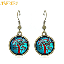 TAFREE 2017 new women fashion dangle earrings tree of life charms vintage bronze color round pendant drop earrings jewelry D976