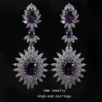 Fashion 2014 New Brand Big Amethyst Cubic Zirconia Diamond Long Drop Vintage Earrings For Women Free