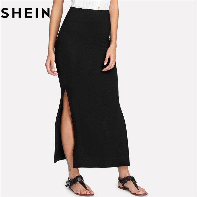 SHEIN 2018 Womens Solid Black Sexy Skinny Long Skirts Office Work Lady Casual Elegant Mid Waist Stretchy Side Split Maxi Skirt