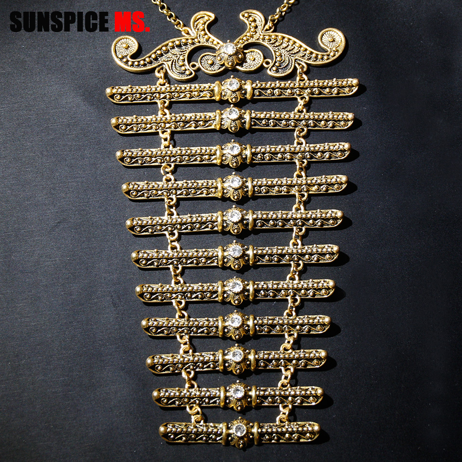 SUNSPICE-MS Caucasus Women Breastplate Belt Ethnic Bridal Jewelry Wedding Dress Accessories Vintage Metal Bijoux